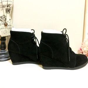 2 Inch Black wedge booties